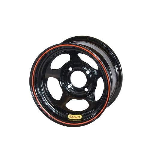 Bassett 36ST3 13X6 D-Hole 4 on 4.5 3 Inch Backspace Black Wheel