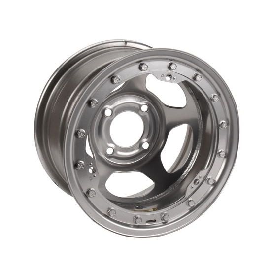 Bassett 38SP4SL 13X8 Inertia 4 on 4.25 4 Inch BS Silver Beadlock Wheel