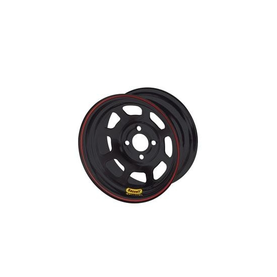 Bassett 47SH1 14X7 D-Hole 4 on 100mm 1 Inch Backspace Black Wheel
