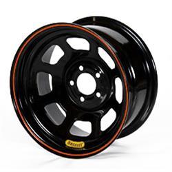 Bassett 47SN3 14X7 D-Hole 5 on 100mm 3 Inch Backspace Black Wheel