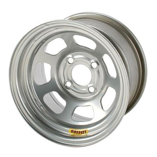 Bassett 47SP2SB 14X7 D-Hole 4 on 4.25 2 In Backspace Silver Bead Wheel