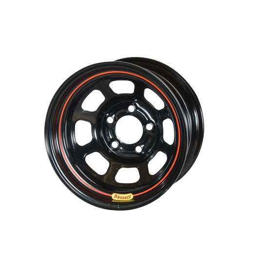 Bassett 48SN4 14X8 D-Hole 5 on 100mm 4 Inch Backspace Black Wheel