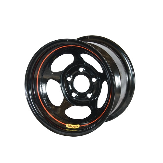Bassett 50L555 15X10 Inertia 5 on 5 5.5 Inch Backspace Black Wheel