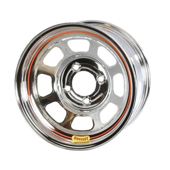 Bassett 50SH5C 15X10 D-Hole Wheel, 4 on 100 MM, 5 Inch, Chrome