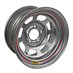 Bassett D-Hole IMCA Approved 15 Inch Wheel, 15x8, 5 on 4-3/4, Silver