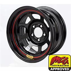Bassett D-Hole IMCA Approved 15 Inch Wheel, 15x8, 5 on 4-3/4, Black