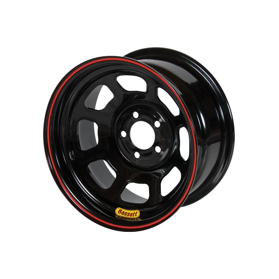 Bassett 53S555 15X13 D-Hole Lite 5 on 5 5.5 Inch Backspace Black Wheel