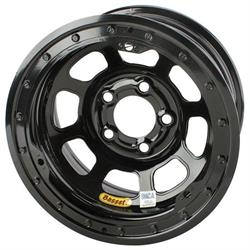 Bassett D-Hole IMCA Approved 15 Inch Wheels, 15 x 8, 5 on 5, Beadlock, Black