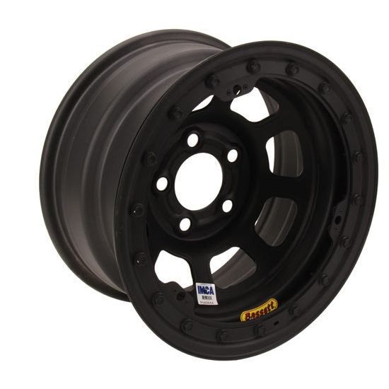 Bassett D-Hole IMCA Approved 15 x 8 Inch Wheel, Beadlock, Flat Black