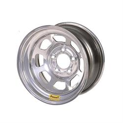 "Bassett 54S54S 15X14 D-Hole Lite 5x5 4"" Backspace Silver Wheel"