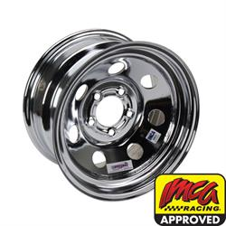 Speedway IMCA Approved 15 Inch Chrome Wheel, 15x8, 5 on 4-1/2, No Beadlock