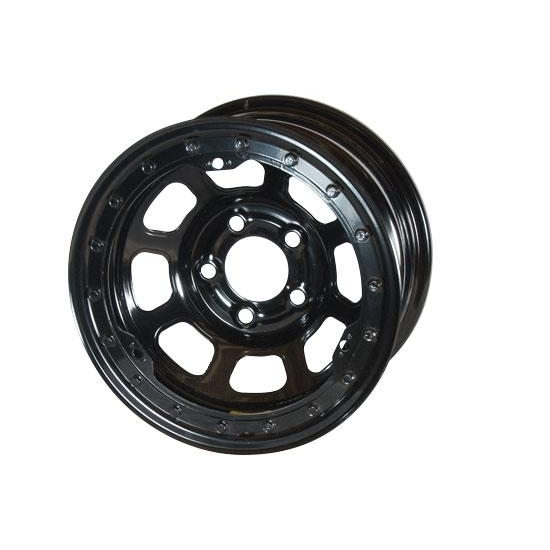 Bassett 57R5375L 15X7 Dot D-Hole 5on5 3.75 In BS Black Beadlock Wheel