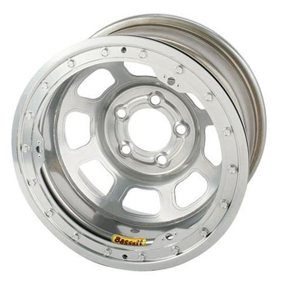 Bassett 57RF3SL 15X7 Dot D-Hole 5 on 4.5 3 In BS Silver Beadlock Wheel