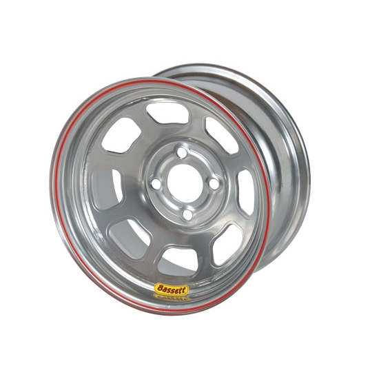 Bassett 57RH2S 15X7 Dot D-Hole 4 on 100mm 2 In Backspace Silver Wheel