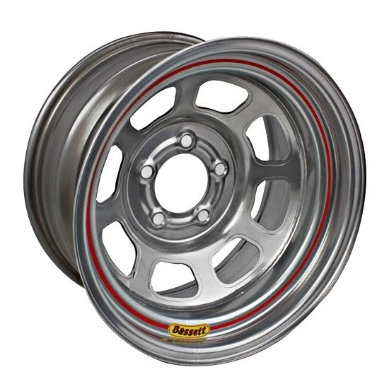 Bassett 57RN4S 15X7 DOT D-Hole 5x100 mm 4 In Bckspc Silver Wheel