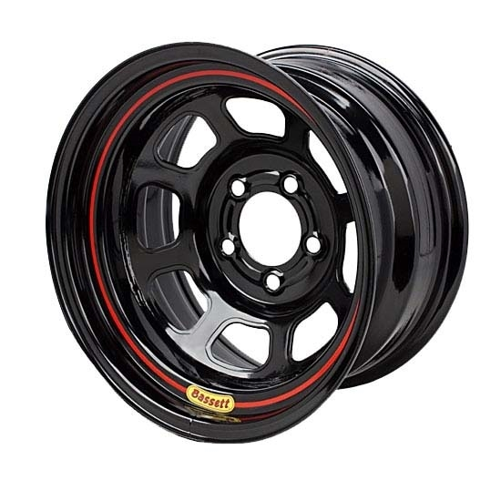Bassett 57SP35 15X7 D-Hole Lite 4x4.25 3.5 In. Bckspc Black Wheel