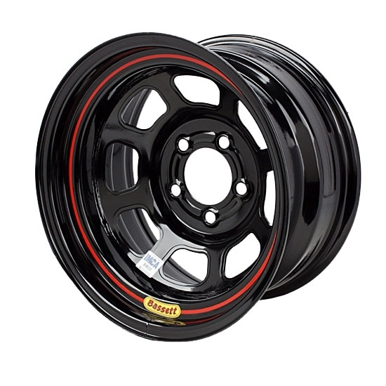 "Bassett 585S55 15X8.5 D-Hole Lite 5x5 5"" BS Black Wheel"