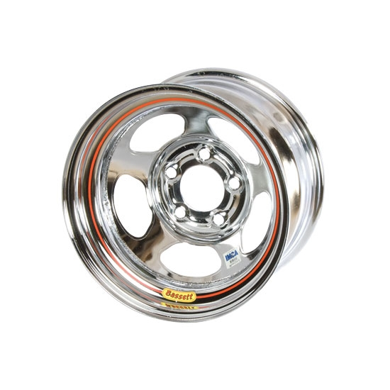 Bassett 58A51IC 15X8 Inertia 5 on 5 1 Inch Backspace IMCA Chrome Wheel