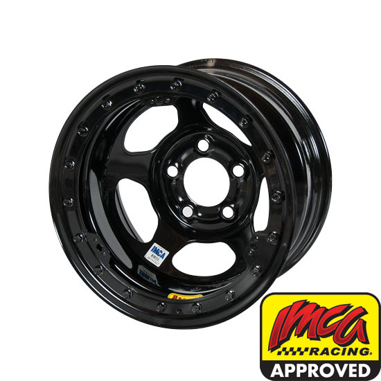 Bassett 58A51IL 15X8 Inertia 5on5 1 Inch BS IMCA Black Beadlock Wheel