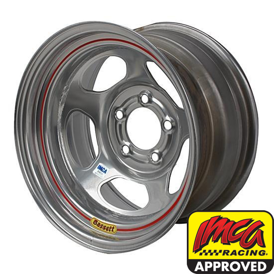 Bassett 58A535IS 15X8 Inertia 5on5 3.5 In Backspace IMCA Silver Wheel