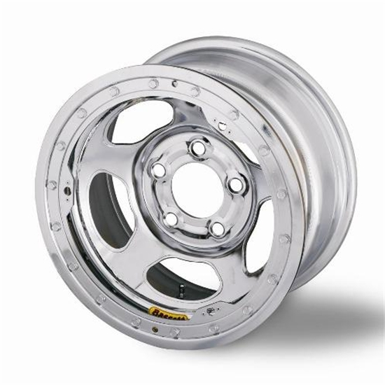 Bassett 58A54CL 15X8 Inertia 5 on 5 4 Inch BS Chrome Beadlock Wheel