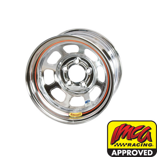 Bassett 58DF1IC 15X8 D-Hole 5on4.5 1 Inch Backspace IMCA Chrome Wheel