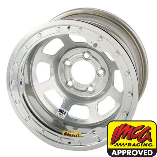 Bassett 58DF2ISL 15X8 D-Hole 5on4.5 2 In BS IMCA Silver Beadlock Wheel