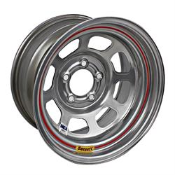 Bassett 58DF2IS 15X8 D-Hole 5x4.5 2 In Bckspc IMCA Silver Wheel