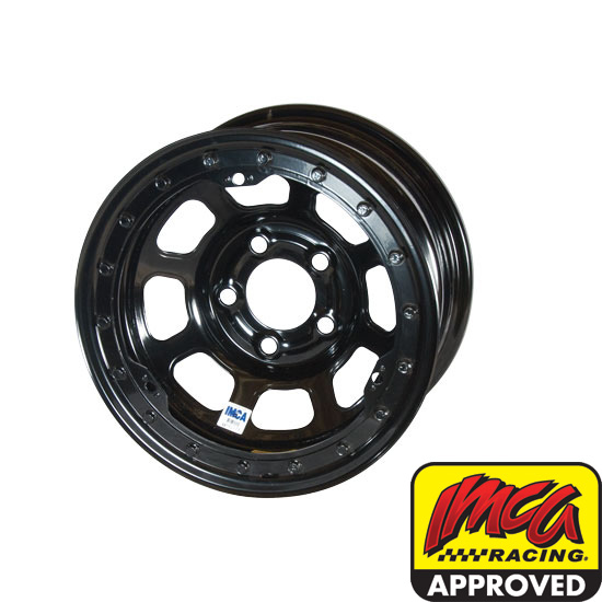Bassett 58DF3IL 15X8 D-Hole 5on4.5 3 Inch BS IMCA Black Beadlock Wheel