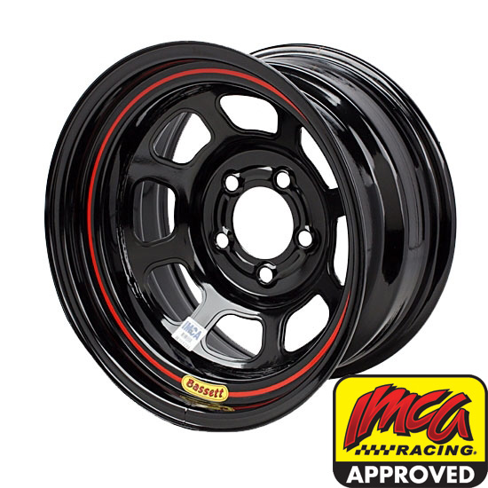 Bassett 58DF3I 15X8 D-Hole 5 on 4.5 3 Inch Backspace IMCA Black Wheel