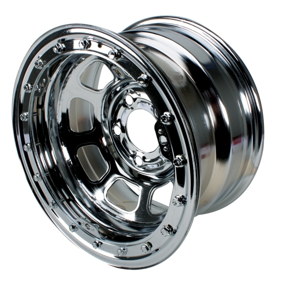 Bassett 58DF3WCL 15X8 D-Hole 5on4.5 3 BS Wissota Chrome Beadlock Wheel