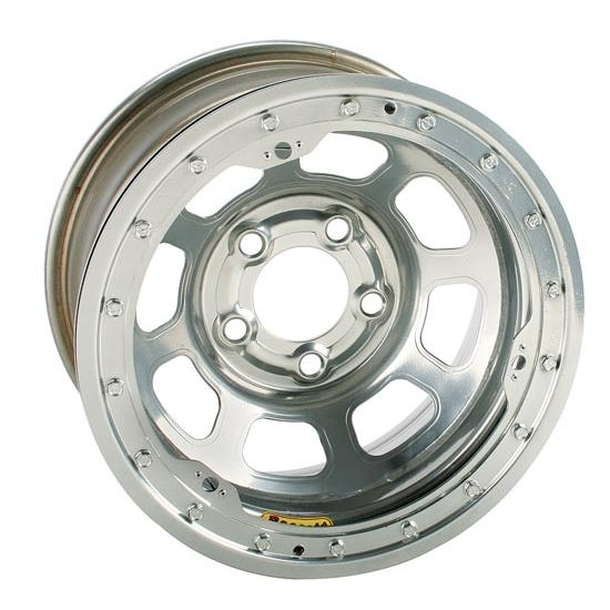 Bassett 58DF3WSL 15X8 D-Hole 5on4.5 3 BS Wissota Silver Beadlock Wheel