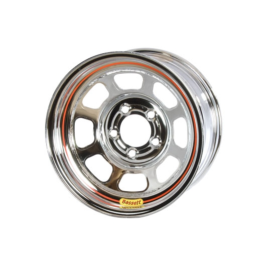 Bassett 58DF4C 15X8 D-Hole 5 on 4.5 4 Inch Backspace Chrome Wheel