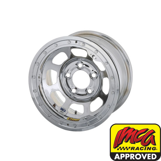 Bassett 58DF4ICL 15X8 D-Hole 5on4.5 4 In BS IMCA Chrome Beadlock Wheel