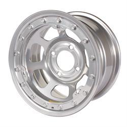 Bassett 58DH2SL 15X8 D-Hole 4 on 100mm 2 Inch BS Silver Beadlock Wheel