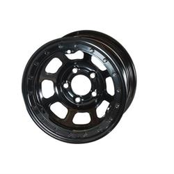 Bassett 58DJ4L 15X8 D-Hole 5 on 5.5 4 Inch BS Black Beadlock Wheel