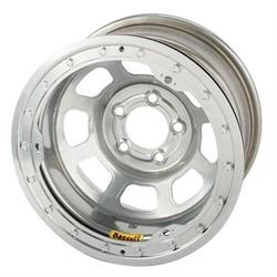 Bassett 58DJ4SL 15X8 D-Hole 5 on 5.5 4 Inch BS Silver Beadlock Wheel
