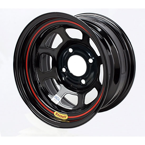 Bassett 58SH35 15X8 DHole Lite 4x100 mm 3.5 In Bckspc Black Wheel