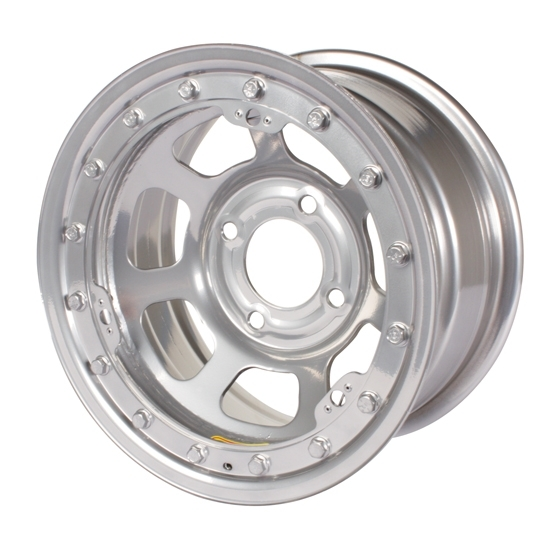 Bassett 58ST2SL 15X8 D-Hole Lite 4on4.5 2 In BS Silver Beadlock Wheel