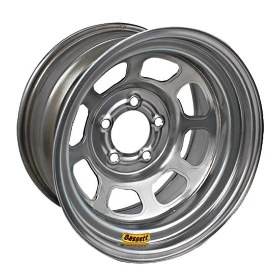 Bassett 958C3 15X8 Excel D-Hole 5 on 4.75 3 In Backspace Silver Wheel