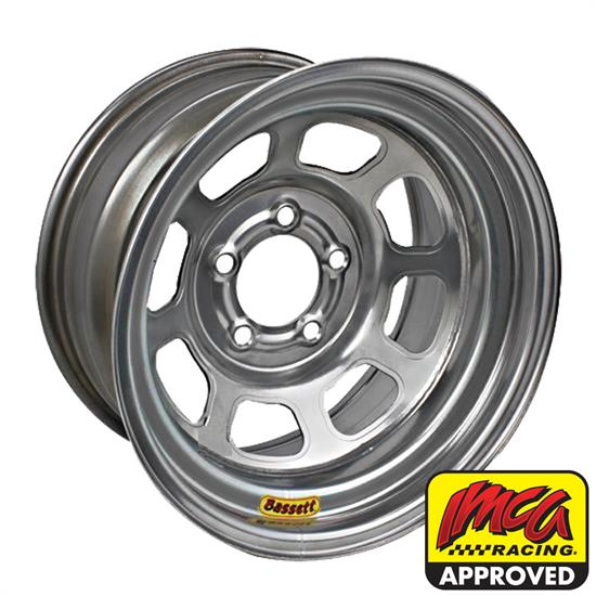 Bassett 958I51 15X8 Excel D-Hole 5on5 1 In Backspace IMCA Silver Wheel