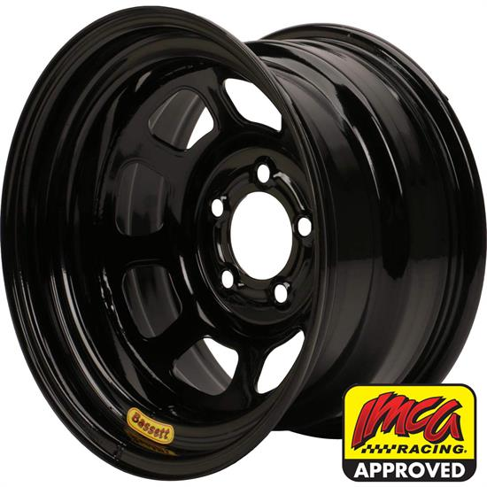 Bassett 958I53B 15X8 Excel D-Hole 5on5 3 In Backspace IMCA Black Wheel