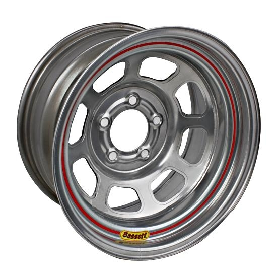 Bassett D58DC4S 15X8 Dot D-Hole 5 on 4.75 4 In Backspace Silver Wheel