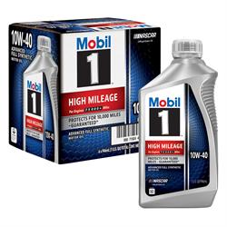 Mobil 1 High Mileage Full Synthetic Motor Oil 10W-40 1 Qt, Case/6