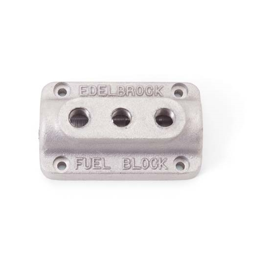 Edelbrock 1285 Fuel Distribution Block , Rectangular, Cast Aluminum