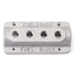 Edelbrock 1290 Fuel Distribution Block, Rectangular, Cast Aluminum
