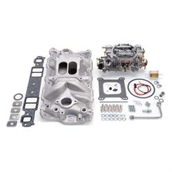 Edelbrock 2021 Single-Quad Intake Manifold/Carburetor Kit, Chevy