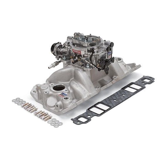 Edelbrock 2028 Single-Quad Intake Manifold/Carburetor Kit, Chevy