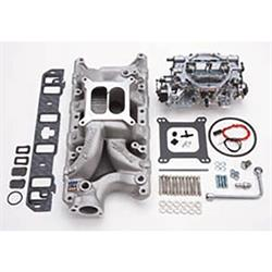 Edelbrock 2032 Single-Quad Intake Manifold/Carburetor Kit, Ford