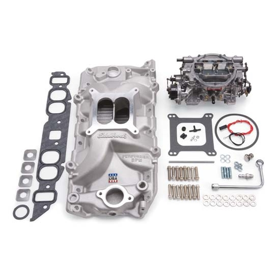Edelbrock 2062 Single-Quad Intake Manifold/Carburetor Kit, Chevy